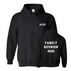 Personalised Front And Back Text Family Reunion Christmas Easter Custom Hoodie