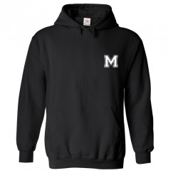 Personalised Front Left Chest Initial text printed on Hoodie