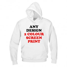 Any design printed in 2 colours screen print custom hoodie