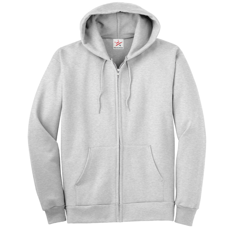 Plain Grey Zip Up Hoodie