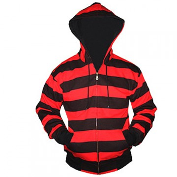 Black And Red Striped Zip up Hoodie