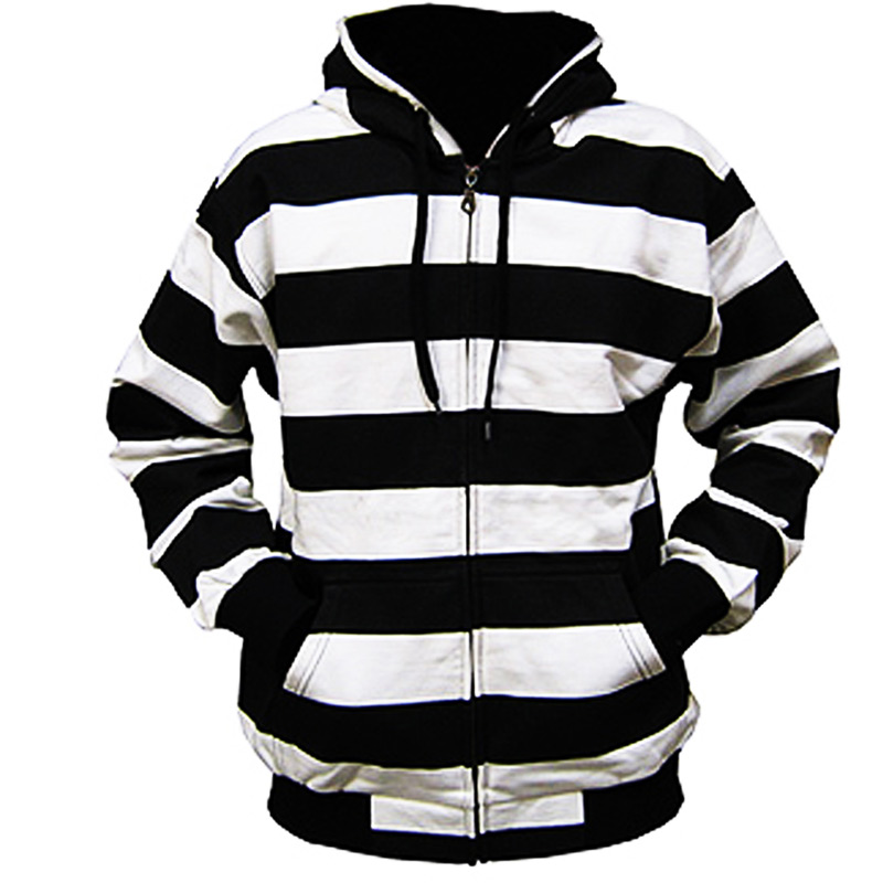 Black And White Striped Zip Hoodie