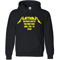 Personalised Bar Mitzvah Hoodie with your custom text printed in Funky rock text