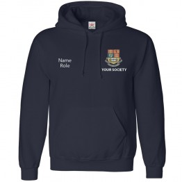 Personalised Uni Hoodie with left breast logo embroidery and right breast custom roles