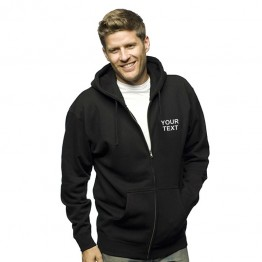 Personalised Zip hoodie with Front left breast text embroidery