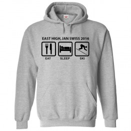 Personalised Ski Hoodie with Custom text on front Eat/Sleep/Ski design