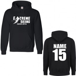 Personalised Ski Hoodie with Custom text on front and back Extreme design