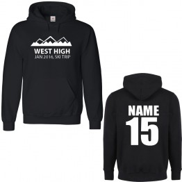 Personalised Ski Hoodie with Custom text on front and back Mountain silhouette design