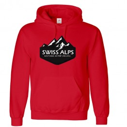 Personalised Ski Hoodie with Custom text on front and back Alp Mountain design