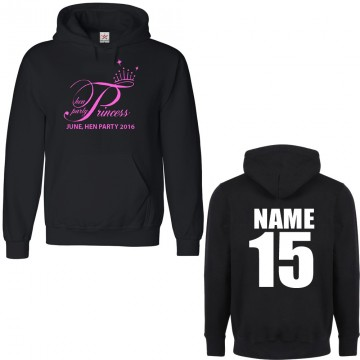 Personalised Stag/Hen Princess Hen Party Hoodie with custom text on front/back