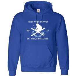 Personalised Ski Retro logo design Hoodie with Custom text on front design