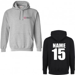 Personalised Front left breast logo embroidery and back custom name print hoodie
