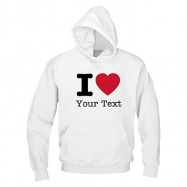 Personalised Front I heart your custom text printed hoodie